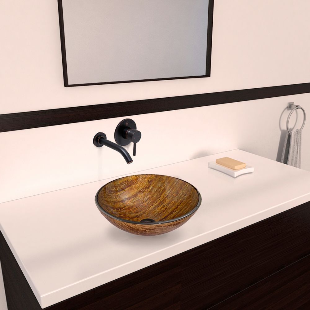 Glass Vessel Sink in Amber Sunset with Olus Wall-Mount Faucet in Antique Rubbed Bronze
