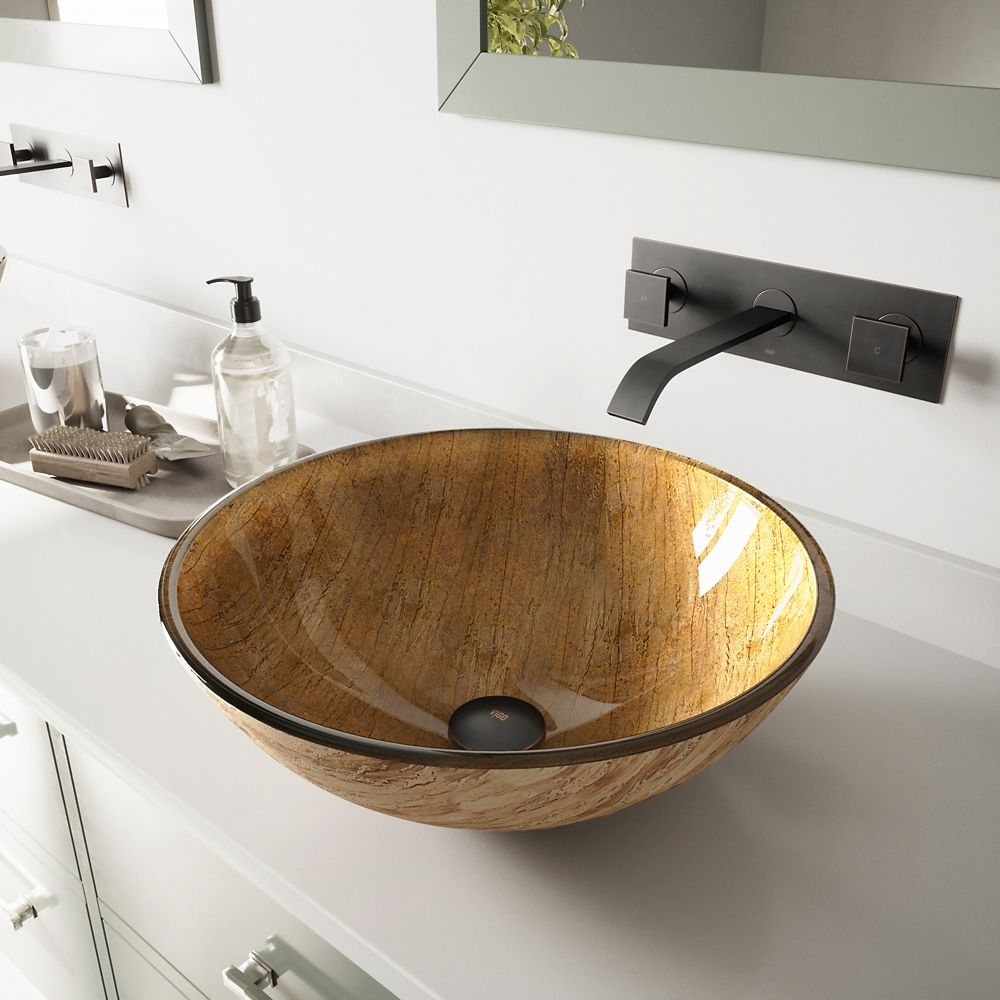Glass Vessel Sink in Amber Sunset with Titus Wall-Mount Faucet in Antique Rubbed Bronze