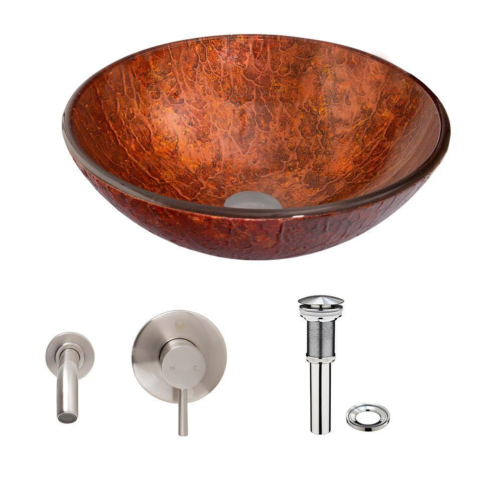 Glass Vessel Sink in Mahogany Moon with Olus Wall-Mount Faucet in Brushed Nickel