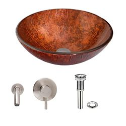 VIGO Glass Vessel Sink in Mahogany Moon with Olus Wall-Mount Faucet in Brushed Nickel