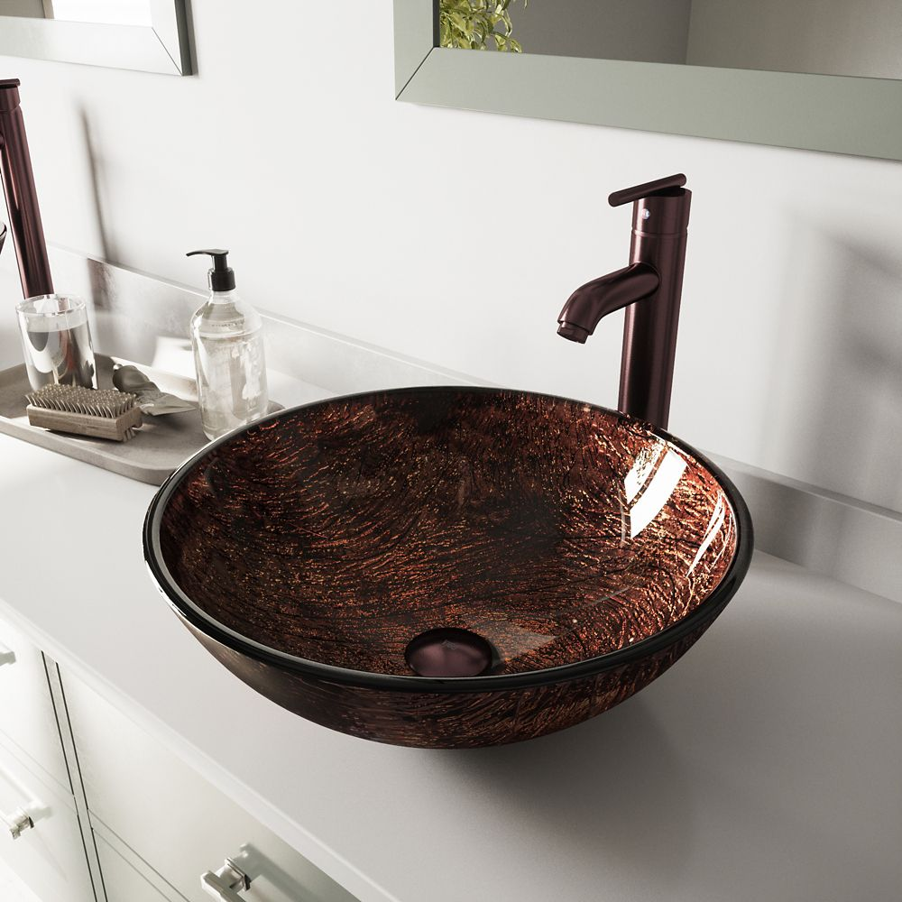 Glass Vessel Sink in Kenyan Twilight with Seville Faucet in Oil-Rubbed Bronze
