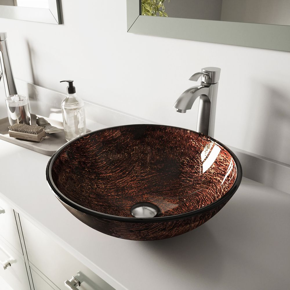 Glass Vessel Sink in Kenyan Twilight with Otis Faucet in Brushed Nickel