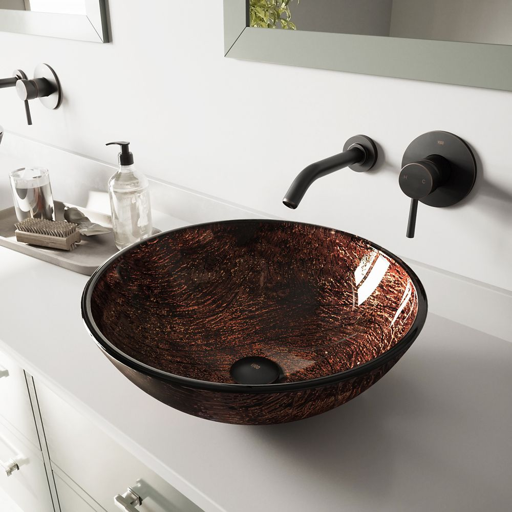 Glass Vessel Sink in Kenyan Twilight with Olus Wall-Mount Faucet in Antique Rubbed Bronze