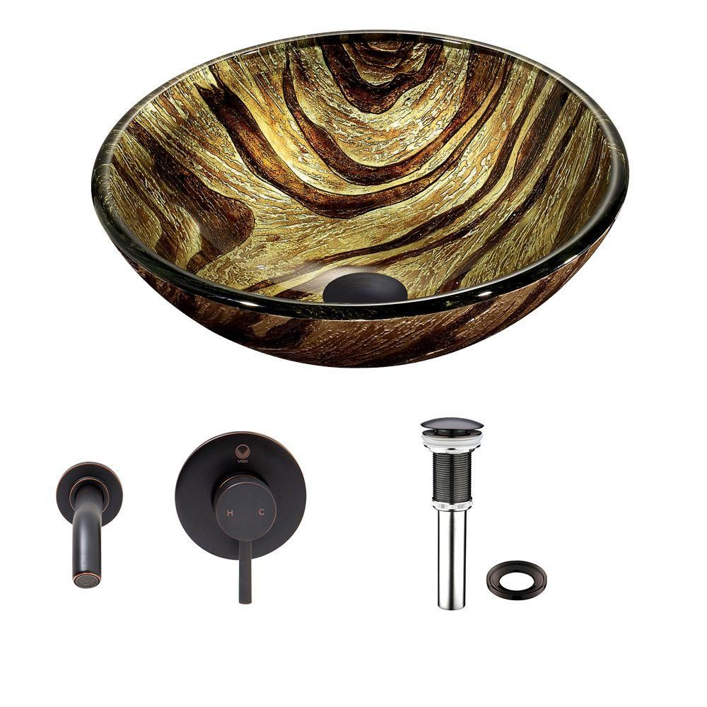 Glass Vessel Sink in Zebra with Olus Wall-Mount Faucet in Antique Rubbed Bronze