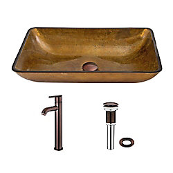 VIGO Glass Vessel Sink in Rectangular Copper with Seville Faucet in Oil-Rubbed Bronze