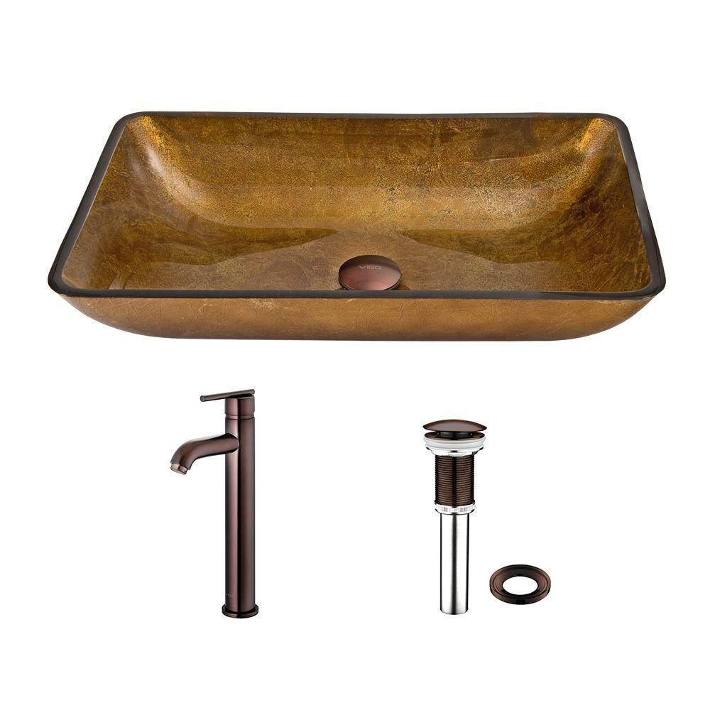 Glass Vessel Sink in Rectangular Copper with Seville Faucet in Oil-Rubbed Bronze