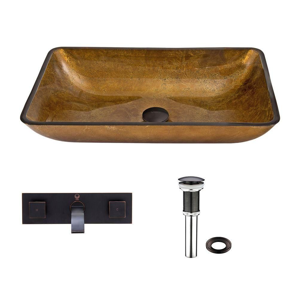 Rectangular Glass Vessel Sink in Copper with Titus Wall-Mount Faucet in Antique Rubbed Bronze