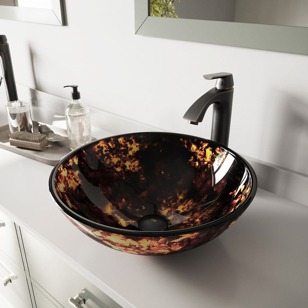 Glass Vessel Sink in Brown/Gold Fusion with Linus Faucet in Antique Rubbed Bronze