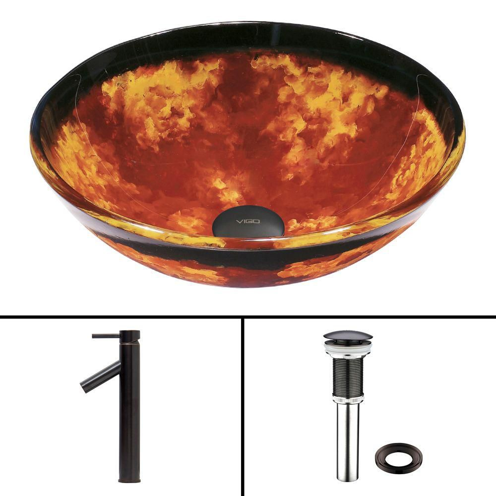 Vigo Glass Vessel Sink in Auburn/Mocha Fusion with Dior Faucet in Antique Rubbed Bronze
