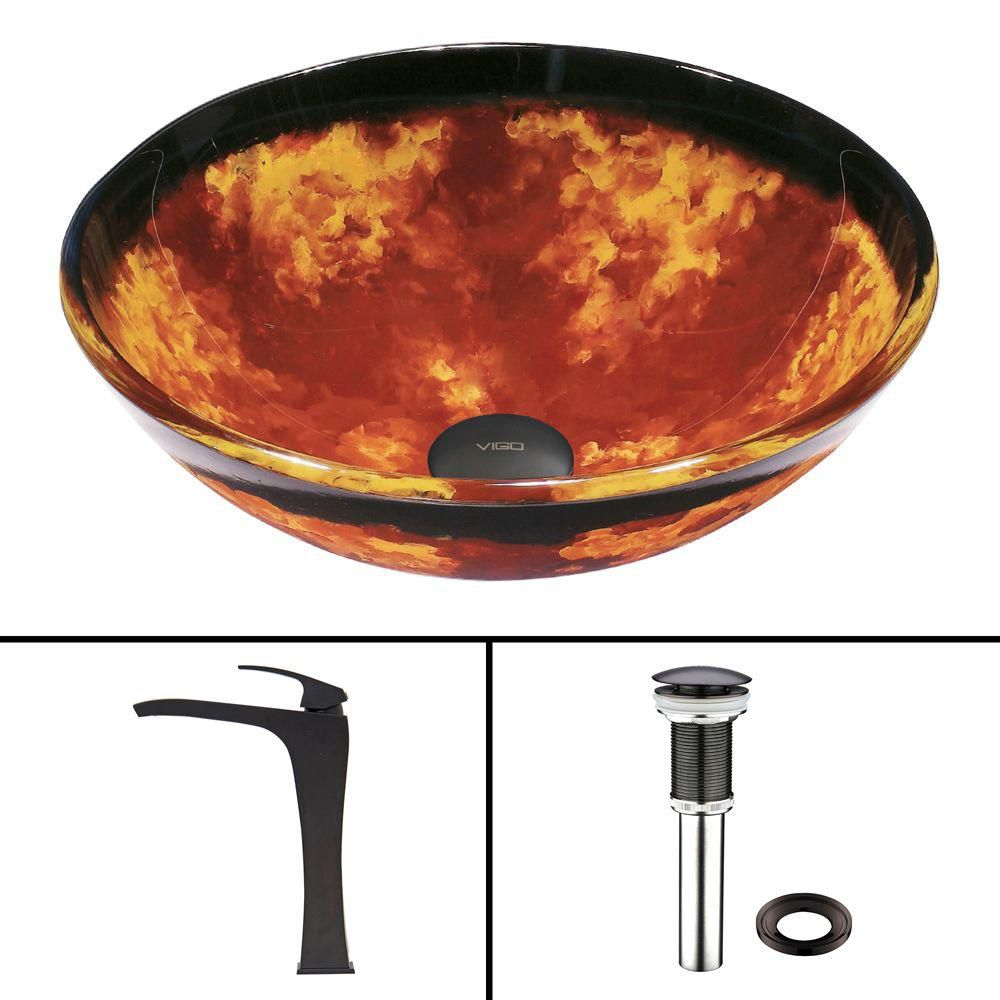 Ensemble lavabo en verre Auburn/Mocha Fusion et robinet Blackstonian, noir mat