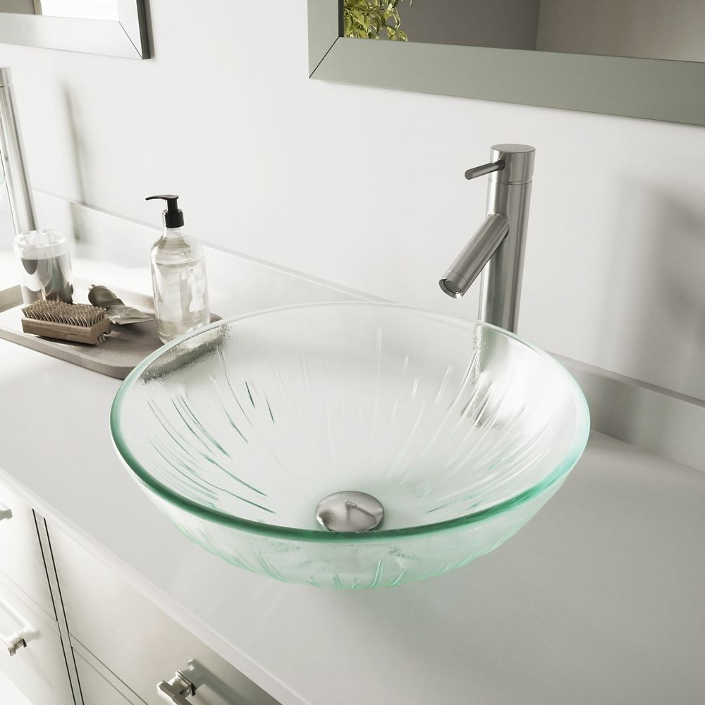 Glass Vessel Sink in Icicles with Dior Faucet in Brushed Nickel
