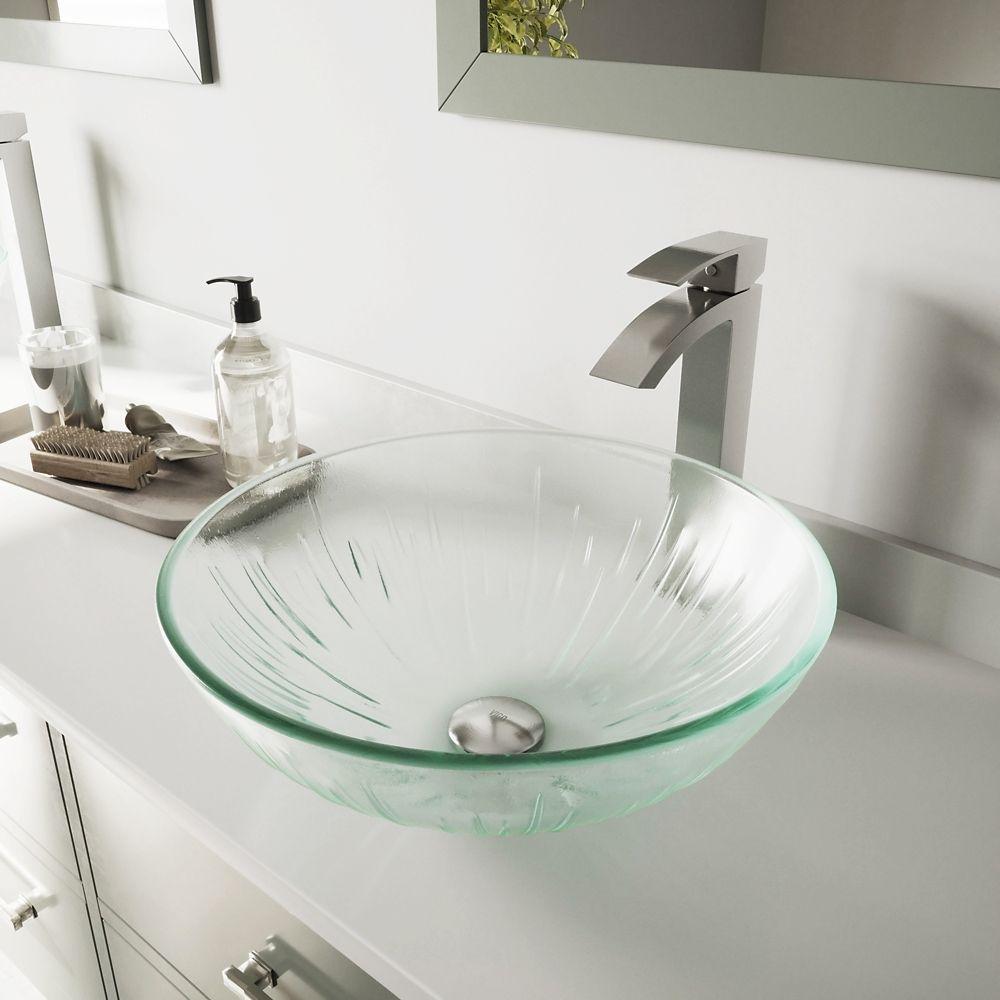 Ensemble Icicles Lavabo en verre et robinet Duris en nickel brossé