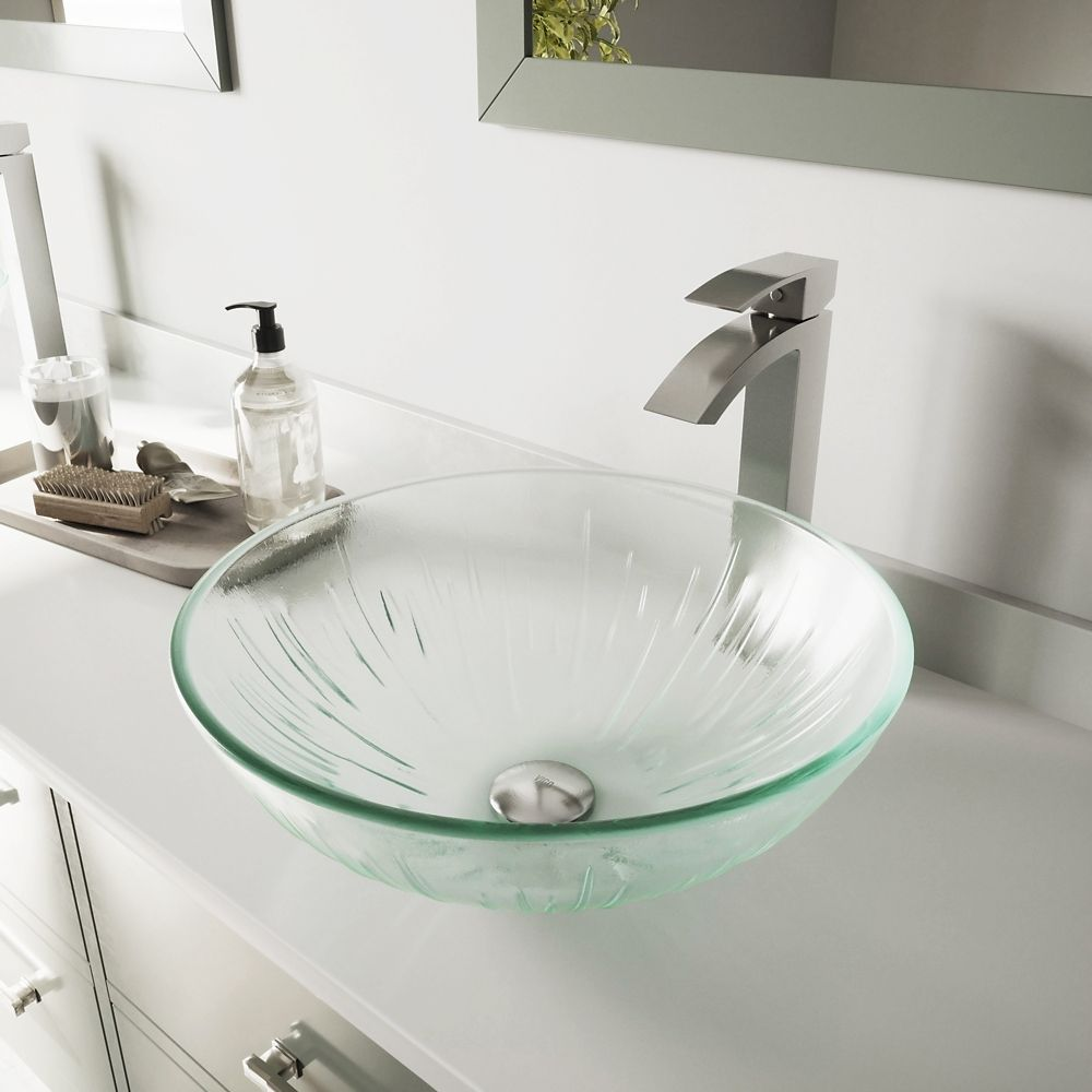 Vigo Glass Vessel Sink in Icicles with Duris Faucet in Brushed Nickel