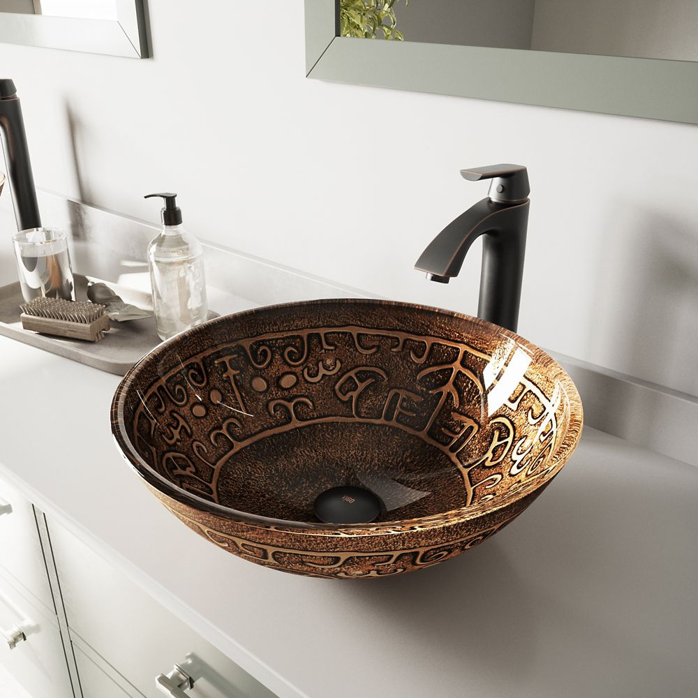 Glass Vessel Sink in Golden Greek with Linus Faucet in Antique Rubbed Bronze