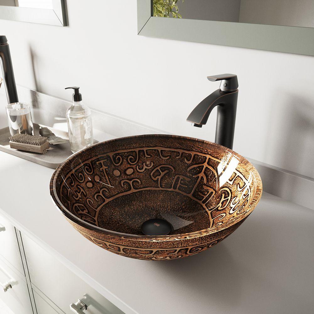 Vigo Glass Vessel Sink in Golden Greek with Linus Faucet in Antique Rubbed Bronze