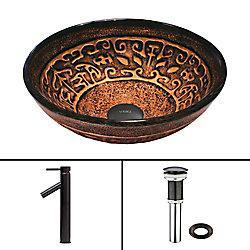 VIGO Glass Vessel Sink in Golden Greek with Dior Faucet in Antique Rubbed Bronze