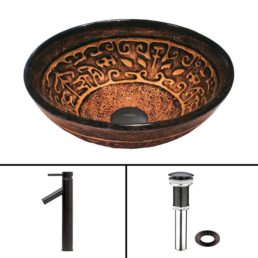 Vigo Glass Vessel Sink in Golden Greek with Dior Faucet in Antique Rubbed Bronze