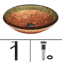 VIGO Glass Vessel Sink in Janus with Dior Faucet in Antique Rubbed Bronze