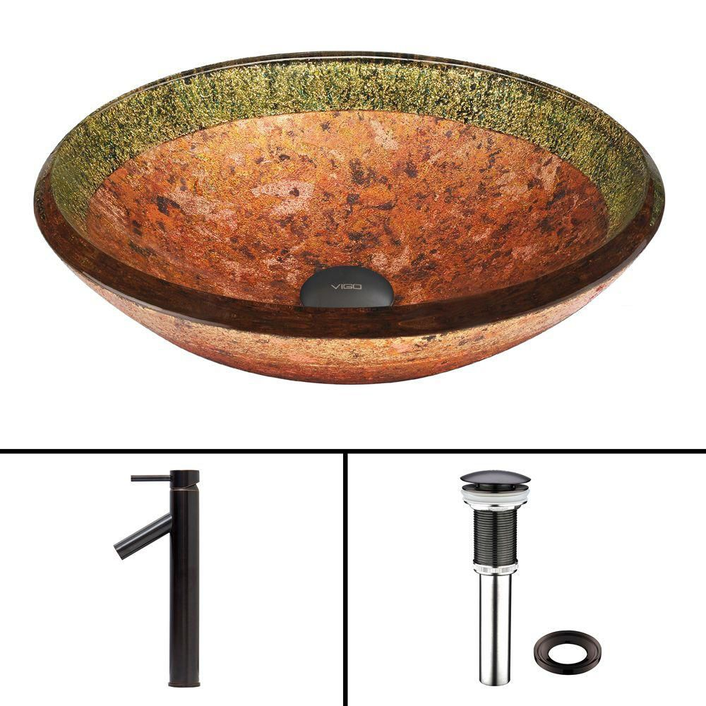 Glass Vessel Sink in Janus with Dior Faucet in Antique Rubbed Bronze