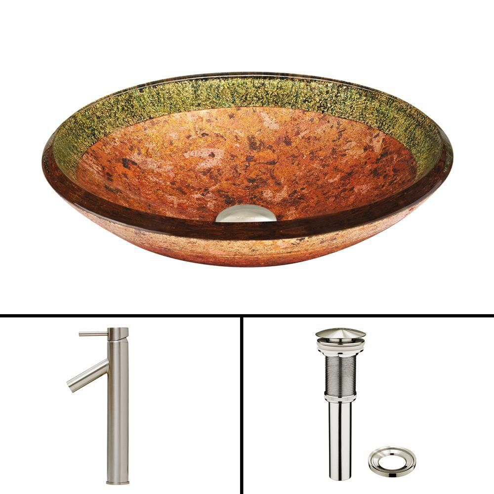 Vigo Glass Vessel Sink in Janus with Dior Faucet in Brushed Nickel