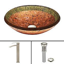 VIGO Glass Vessel Sink in Janus with Duris Faucet in Brushed Nickel