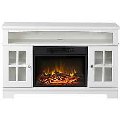 Homestar Zarate 44 1/2-inch W Media Console Mantel in White