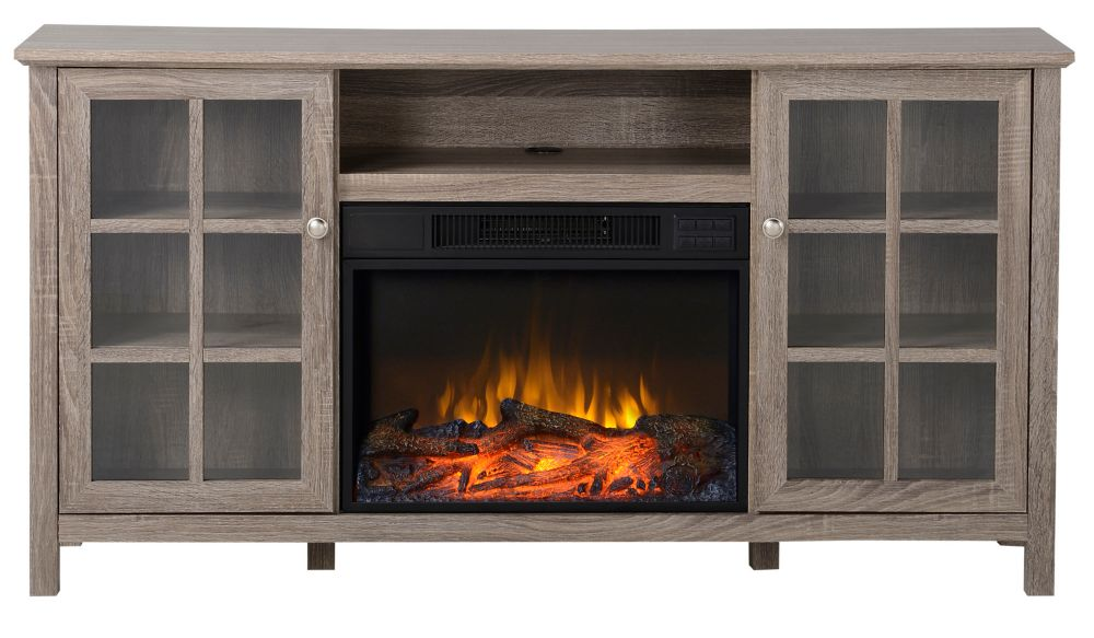 Provence 60 Inch Wide Media Fireplace in Reclaimed Wood