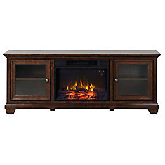 Verona 67 Inch Wide Media Fireplace in Walnut