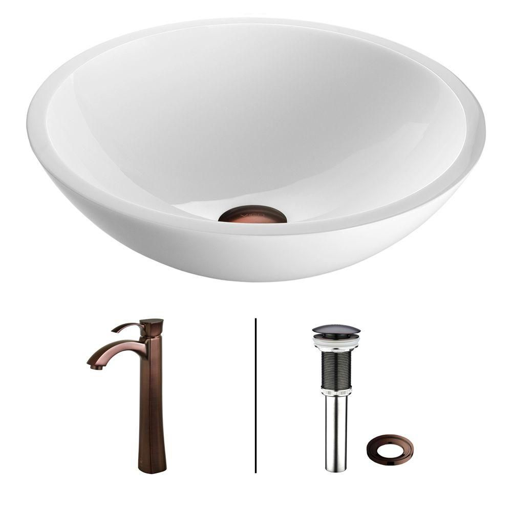 Flat Edged Stone Vessel Sink in White Phoenix with Otis Faucet in Oil-Rubbed Bronze
