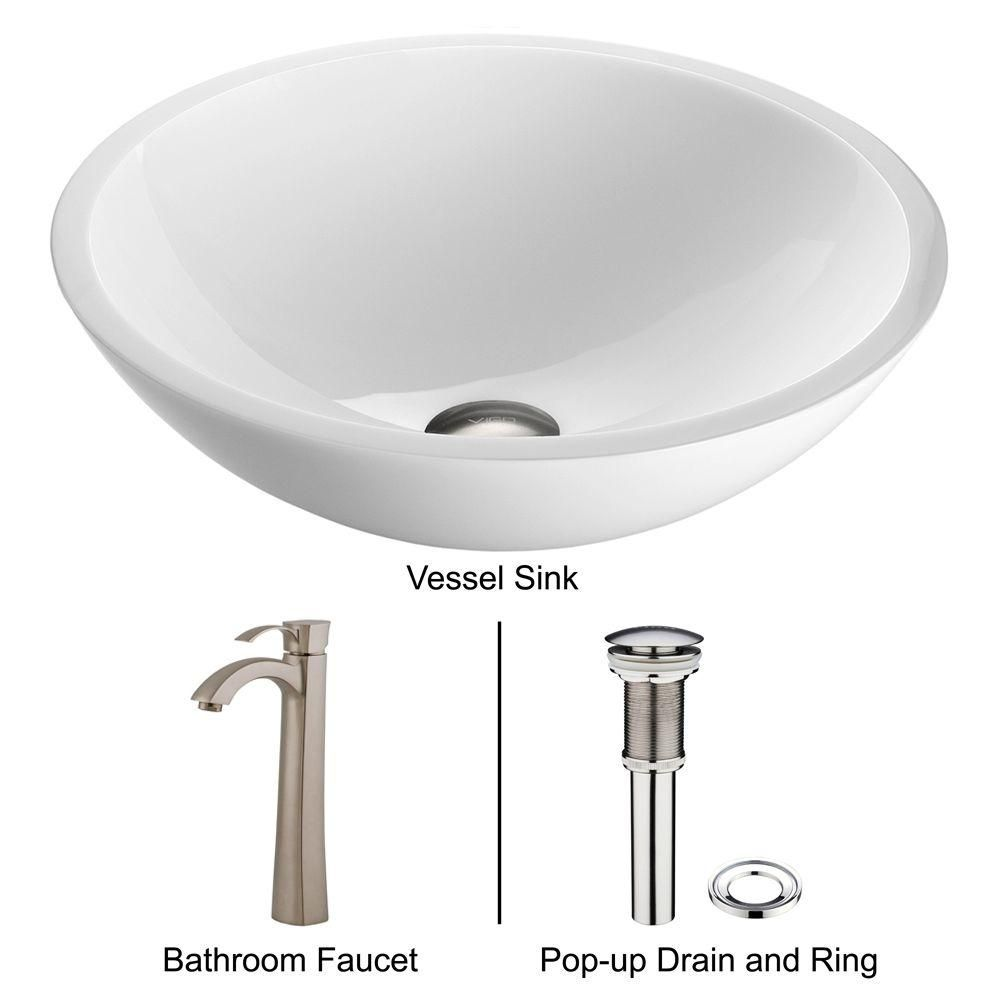 Flat Edged Stone Vessel Sink in White Phoenix with Otis Faucet in Brushed Nickel