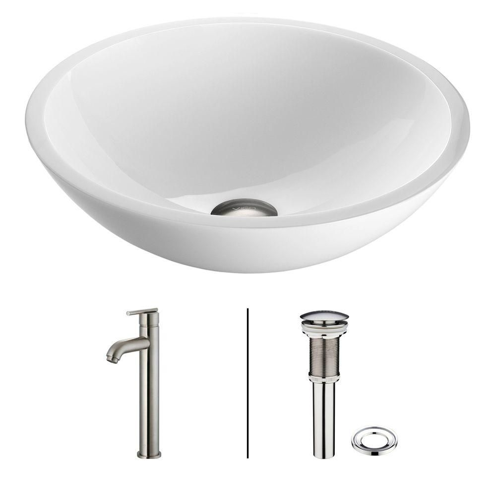 Flat Edged Stone Vessel Sink in White Phoenix with Seville Faucet in Brushed Nickel
