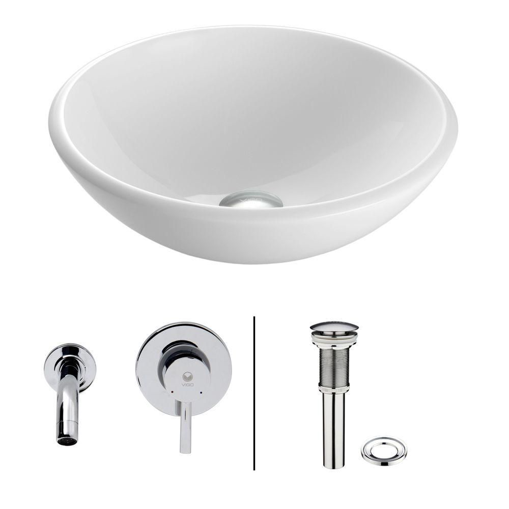 Chrome White Phoenix Stone Vessel Sink with Olus Wall Mount Faucet VGT212 Canada Discount