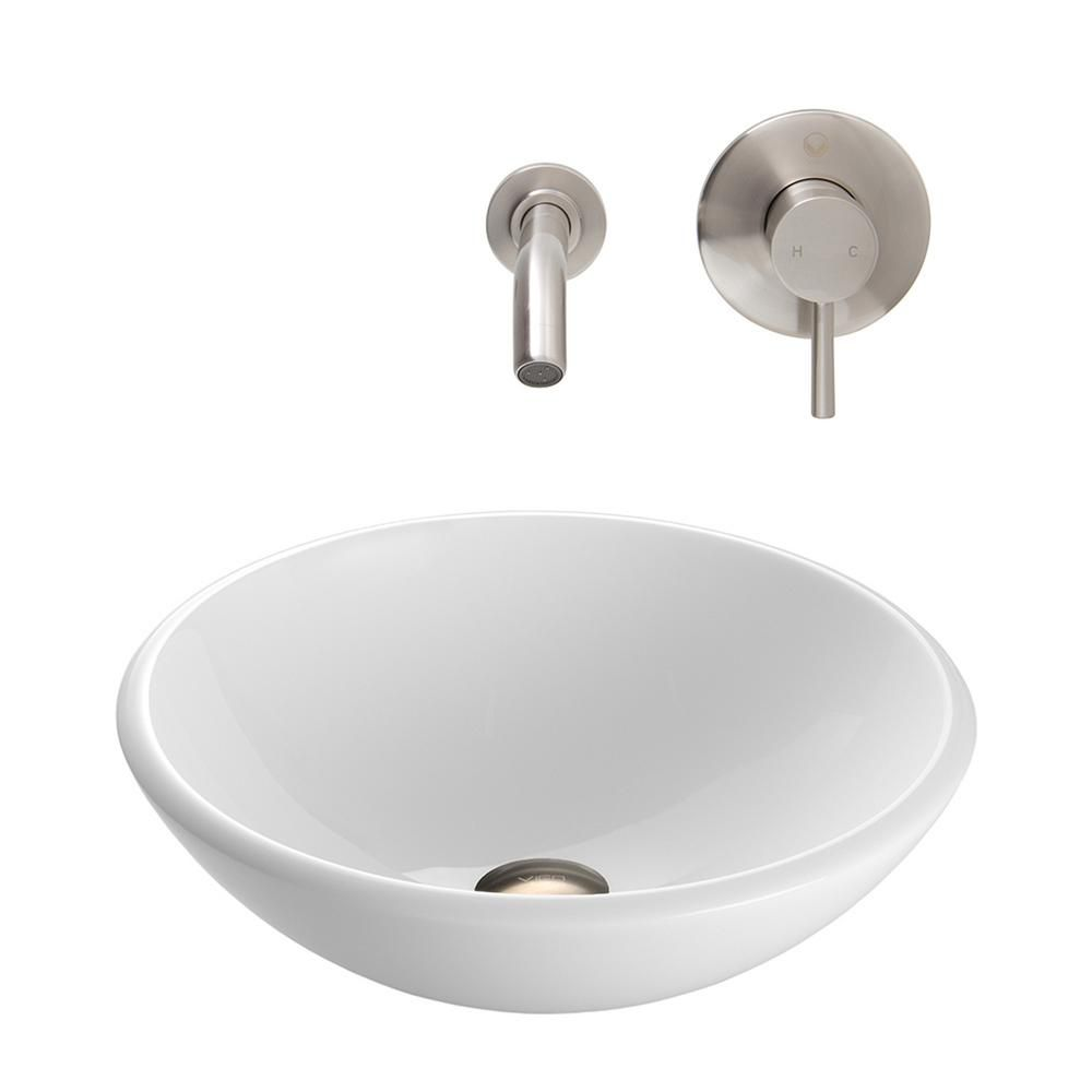 Stone Vessel Sink in White Phoenix with Olus Wall-Mount Faucet in Brushed Nickel