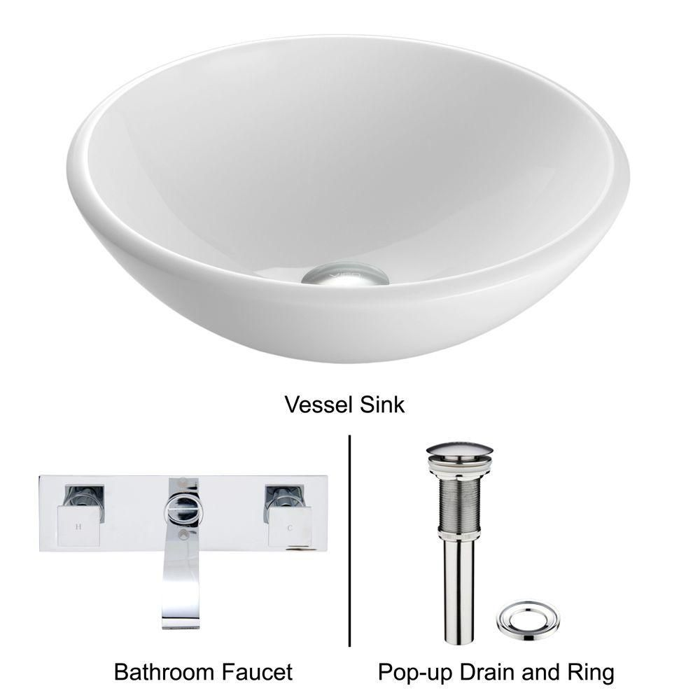 Stone Vessel Sink in White Phoenix with Titus Wall-Mount Faucet in Chrome