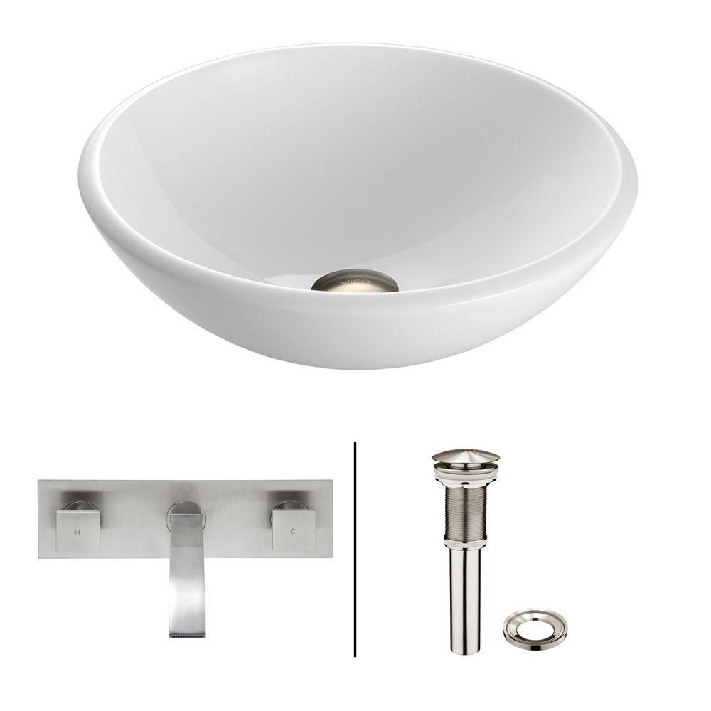 Stone Vessel Sink in White Phoenix with Titus Wall-Mount Faucet in Brushed Nickel