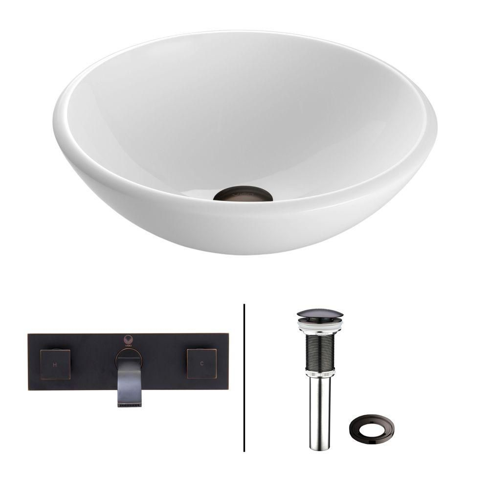 Stone Vessel Sink in White Phoenix with Titus Wall-Mount Faucet in Antique Rubbed Bronze