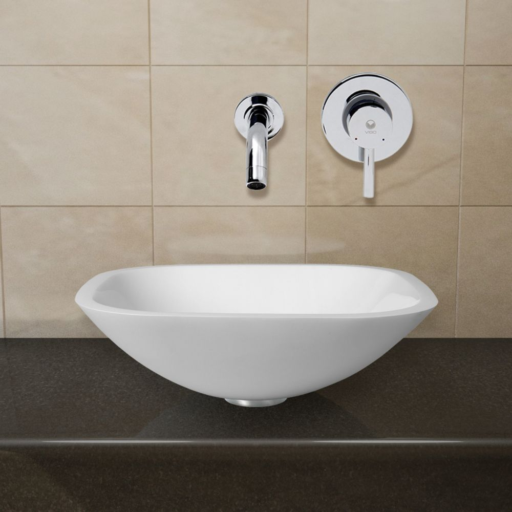 Square Shaped Stone Vessel Sink in White Phoenix with Olus Wall-Mount Faucet in Chrome