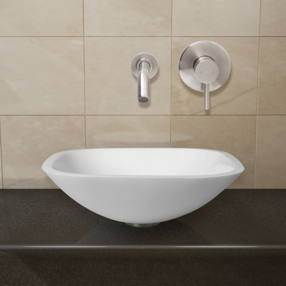 Square Stone Vessel Sink in White Phoenix with Olus Wall-Mount Faucet in Brushed Nickel