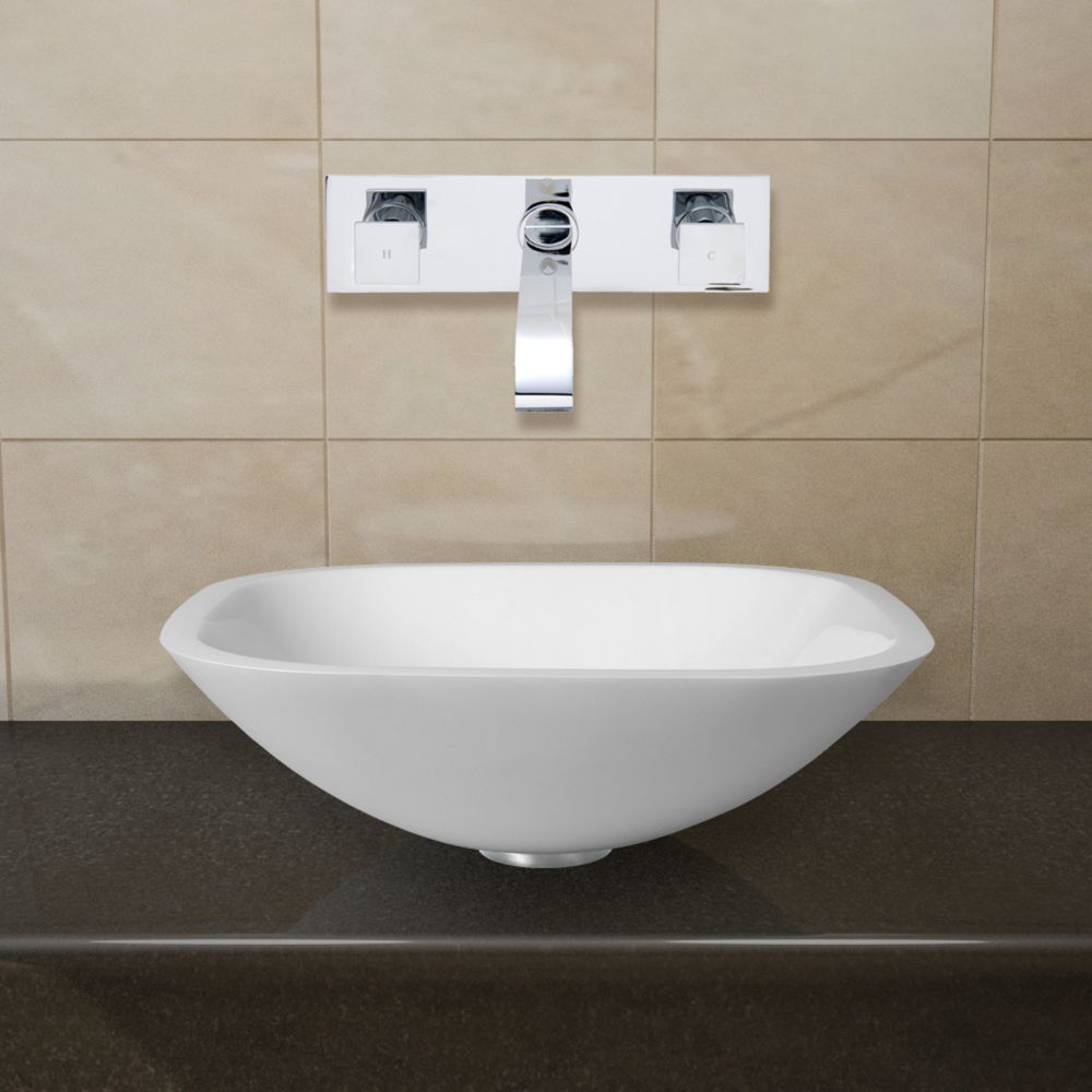 Square Shaped Stone Vessel Sink in White Phoenix with Titus Wall-Mount Faucet in Chrome