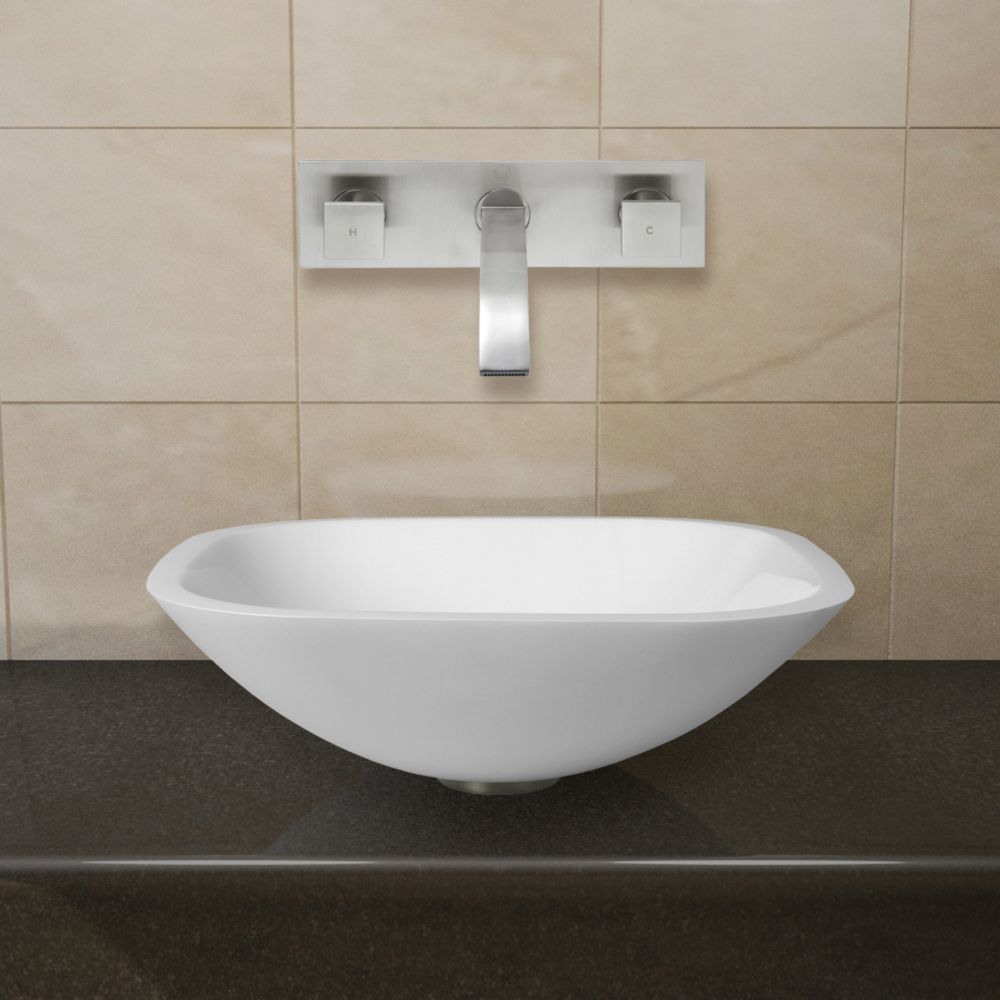 Square Stone Vessel Sink in White Phoenix with Titus Wall-Mount Faucet in Brushed Nickel
