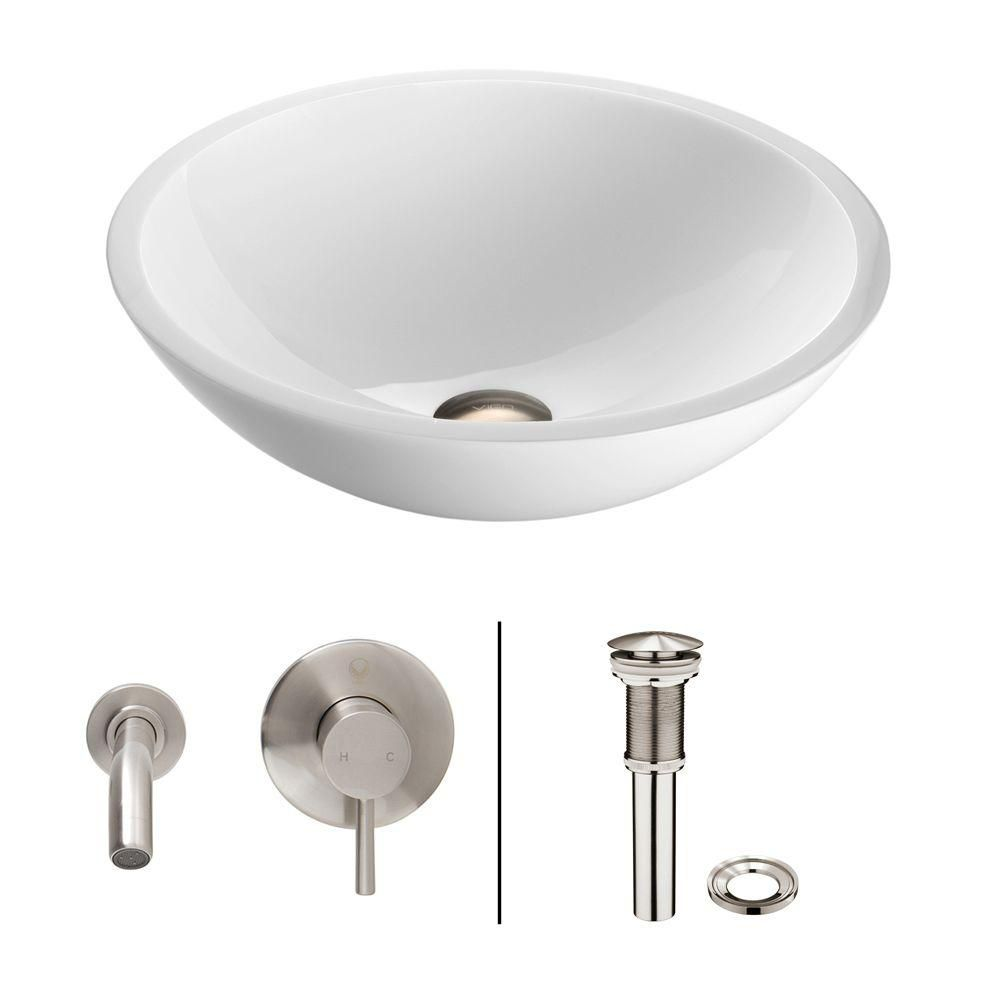 Flat Edged Stone Vessel Sink in White Phoenix with Olus Wall-Mount Faucet in Brushed Nickel