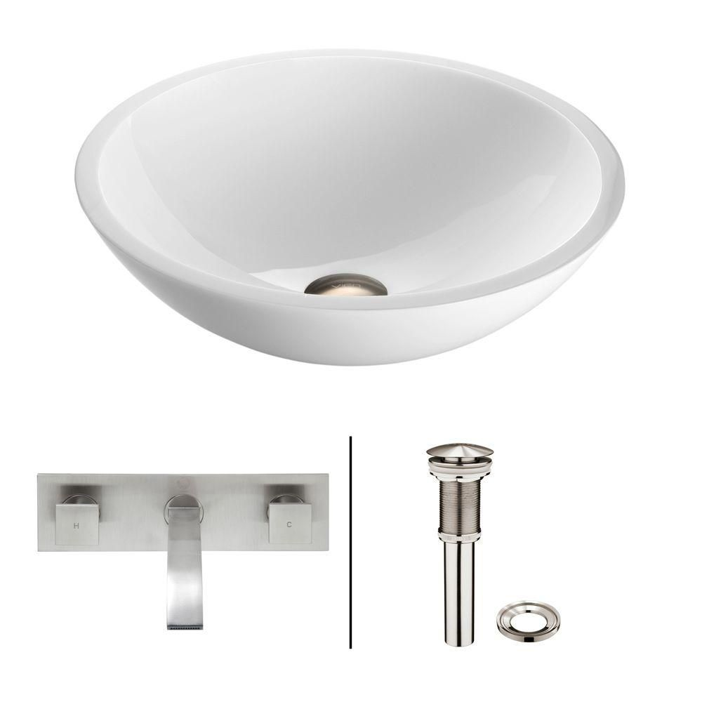 Flat Edged Stone Vessel Sink in White Phoenix with Titus Wall-Mount Faucet in Brushed Nickel