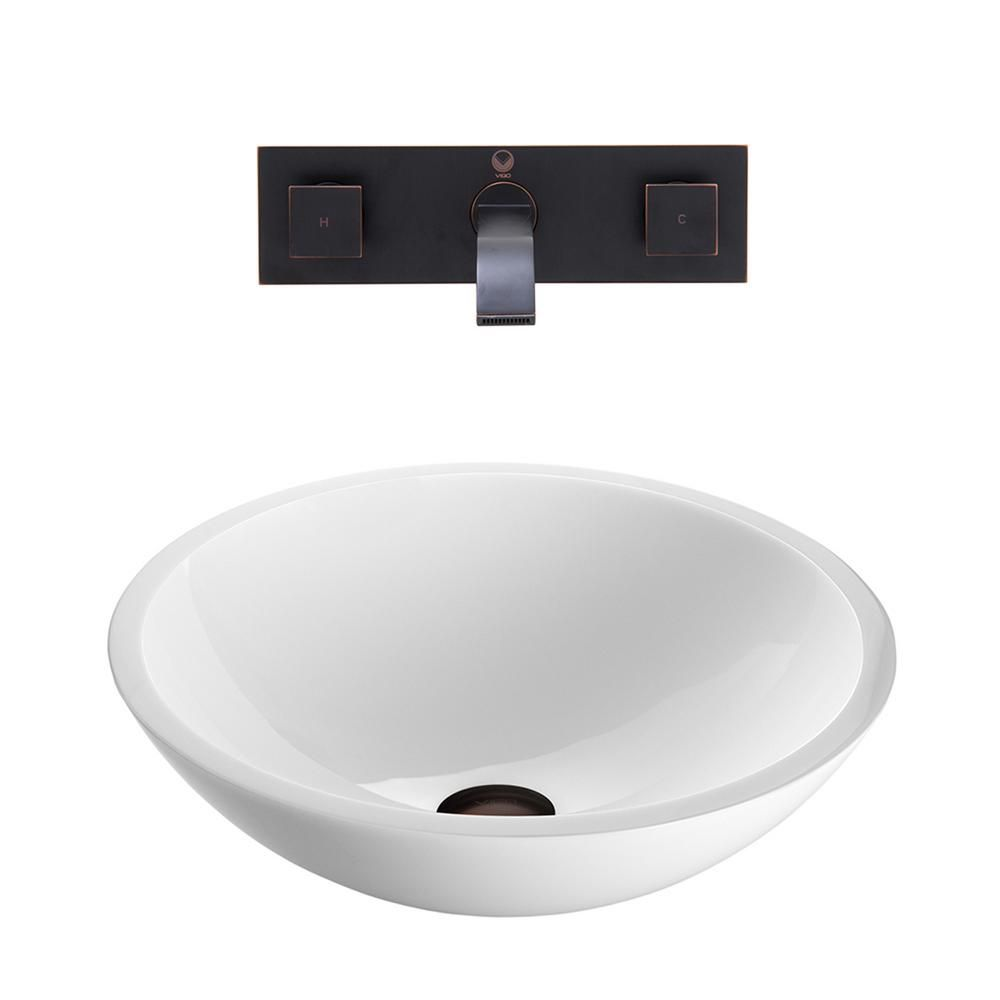 Flat Edged Stone Vessel Sink in White Phoenix with Titus Wall-Mount Faucet in Antique Rubbed Bron...