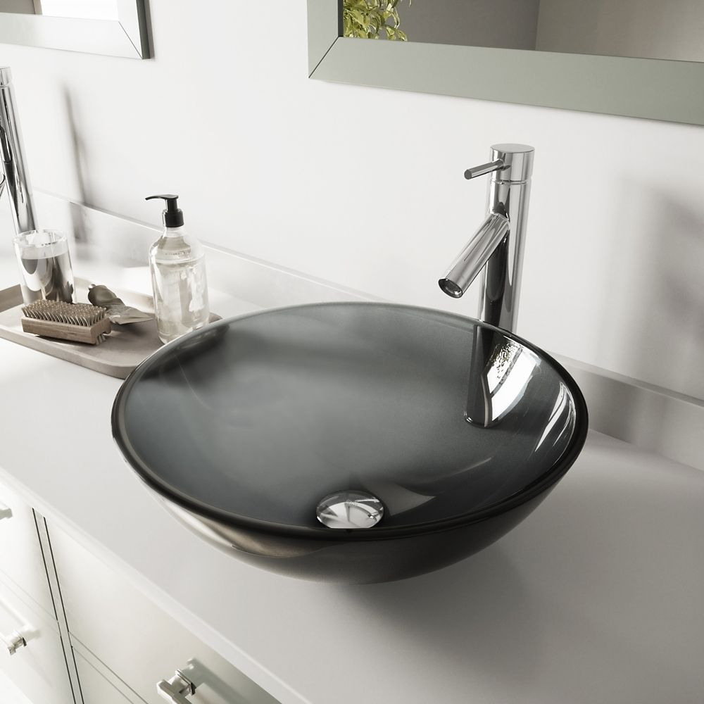 Glass Vessel Sink in Sheer Black with Faucet in Chrome