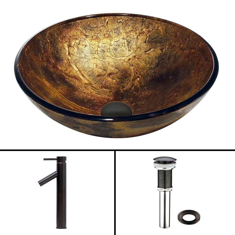 Vigo Glass Vessel Sink in Copper Shapes with Dior Faucet in Antique Rubbed Bronze