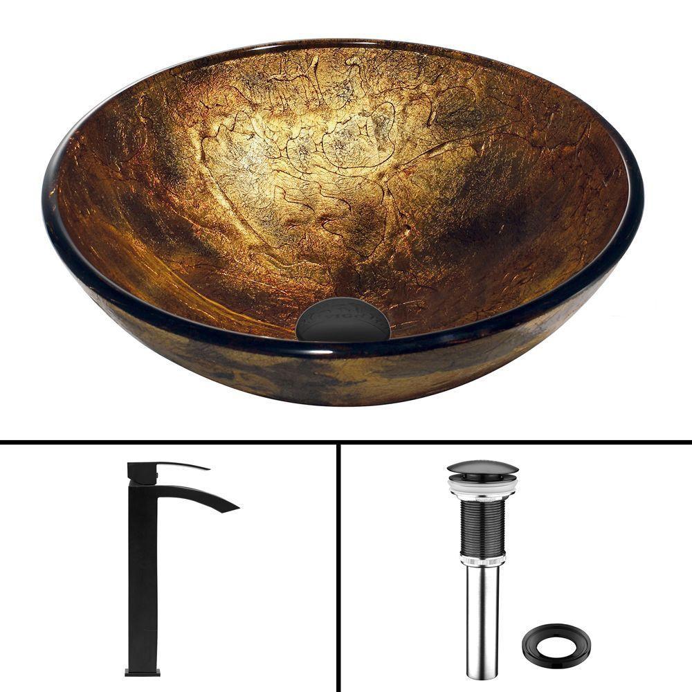 Vigo Glass Vessel Sink in Copper Shapes with Duris Faucet in Matte Black
