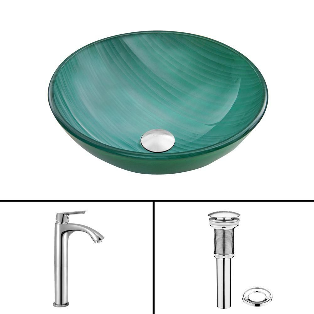 Glass Vessel Sink in Whispering Wind with Linus Faucet in Chrome