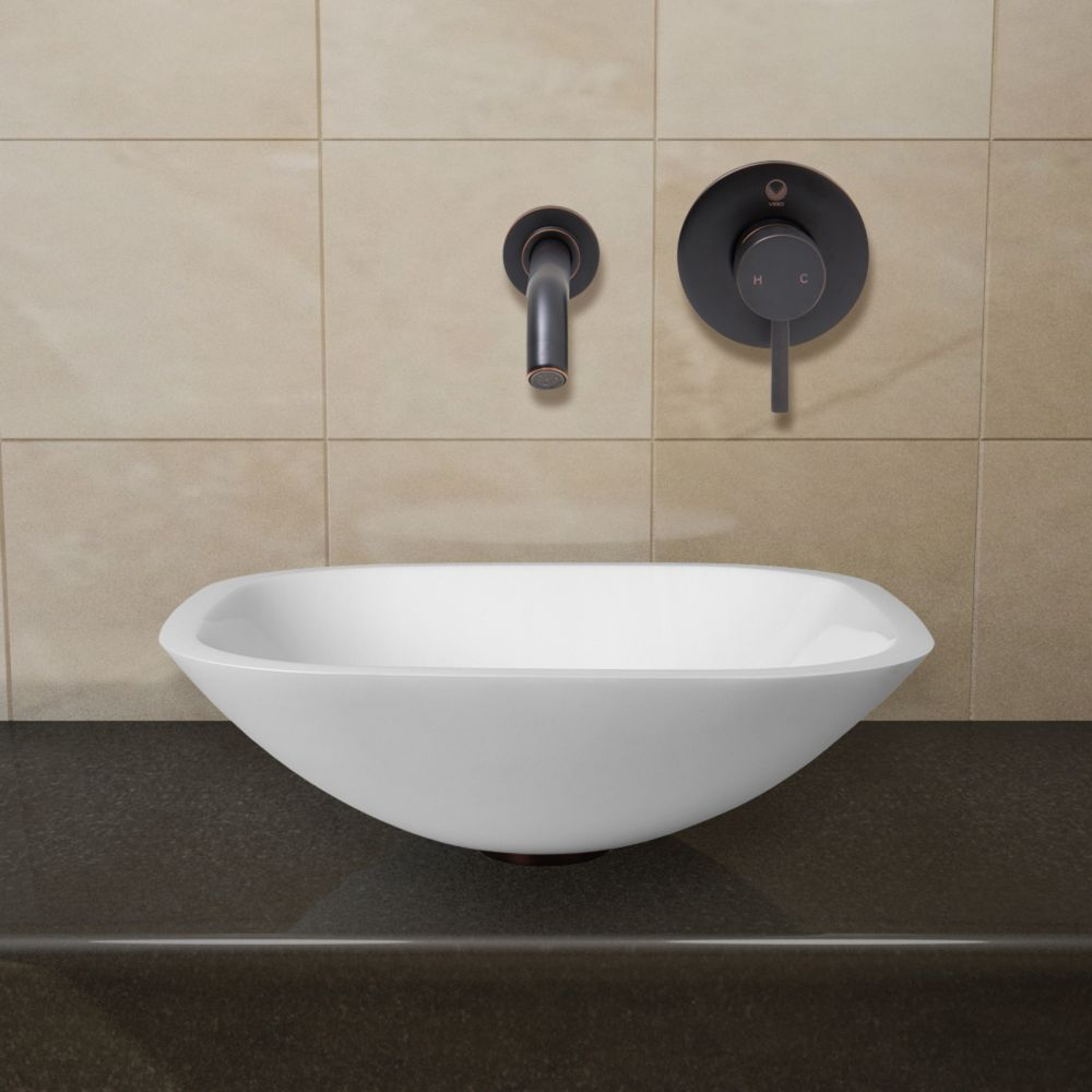 Vigo Square Stone Vessel Sink in White Phoenix with Linus Faucet in Antique Rubbed Bronze