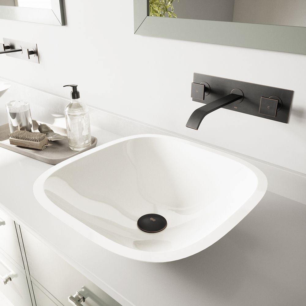 Square Stone Vessel Sink in White Phoenix with Titus Wall-Mount Faucet in Antique Rubbed Bronze