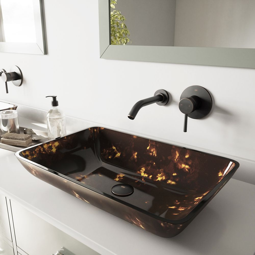 Rectangular Glass Vessel Sink in Brown and Gold Fusion with Wall-Mount Faucet in Antique Rubbed B...